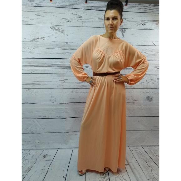 15fdf43b31 Vintage Dresses   70s Peach Maxi Dress With Retro Rhinestone Details ...